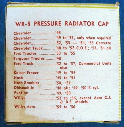 RADIATOR 4 pound Pressure Cap - Wayne WR-8 New Old Stock #1
