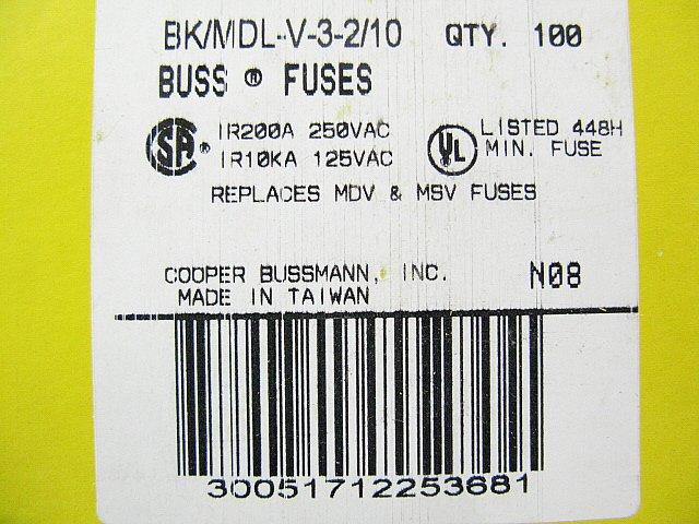 Bussmann Time Delay Fuse MDL - V - 2      250v   2a x 48 pcs