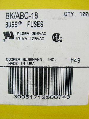 Bussmann Fast Acting Ceramic Fuse ABC-18 250v  18a x 48 pcs