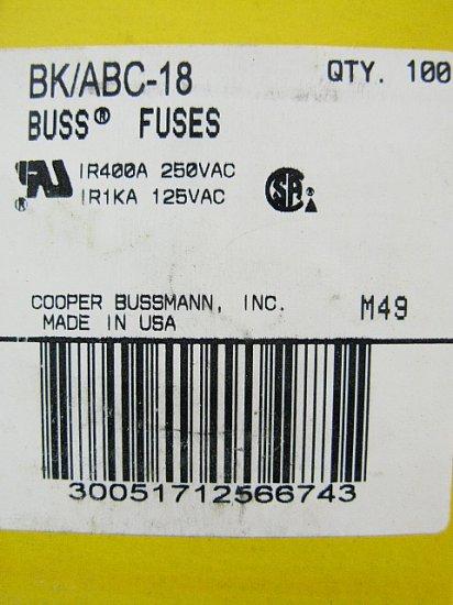 Bussmann Fast Acting Ceramic Fuse ABC-18 250v  18a x 3 pcs