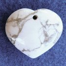 PENDANT STONE BEAD, TURQUOISE  White Heart FB181250a