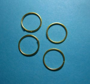 JUMP RINGS - Open 12mm Gold Tone Plate     100 Pieces    JR12gp