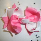 White/Hot Pink Spike Bow