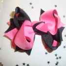 Hot Pink/Black Spike Bow