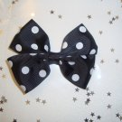 Black and White Polka Dot Pinwheel Hair Bow