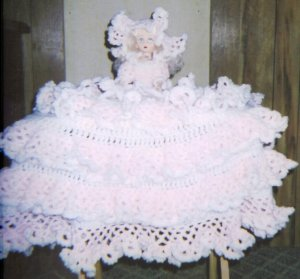 """11"""" dolls with hand croched dresses"""