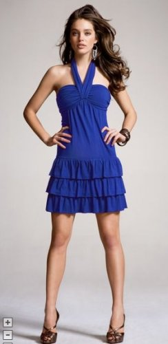 Blue Tiered Halter Dress by Express (Size: XS)