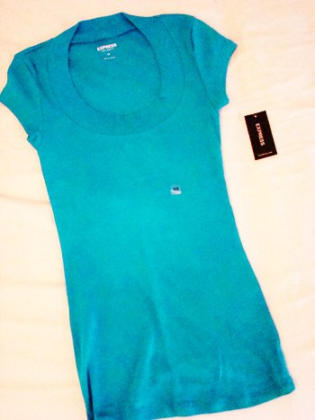 Express Sexy Basics Round Collar Tee in Blue (Size XS)