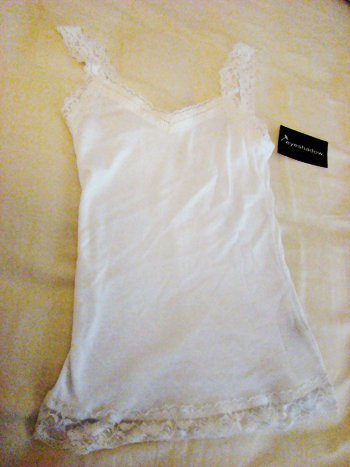 Eyeshadow Lace Tank Top in White (Size S)