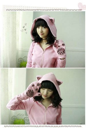 Cat-Eared Hoodie in Pink (Size Freesize)