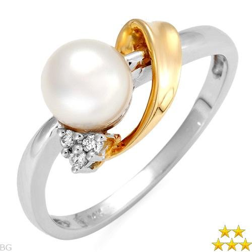 45% OFF - Unique Diamond & Freshwater Pearl Ring