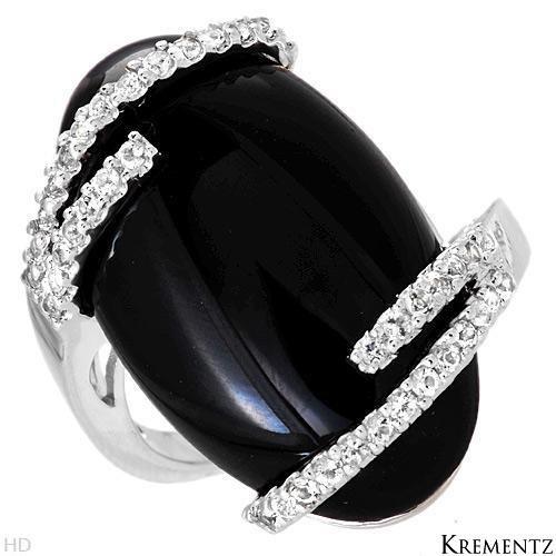 65% OFF - Designer KREMENTZ Genuine Onyx and Topazes Ring
