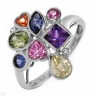 45%OFF - Diamonds and Created Sapphires White Gold Ring