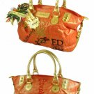 ED HARDY 100% Original Georgia Coated Canvas Metallic Satchel - Orange