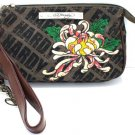 ED HARDY 100% Original Effie Canvas & Leather Wristlet Bag - Taupe