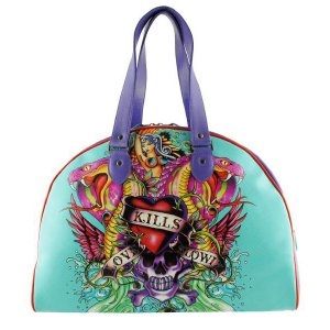 ED HARDY 100% Original Death or Glory Large Bowling Bag - Aqua