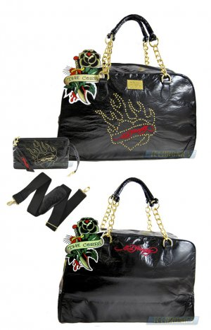ED HARDY 100% Original Pandora Bowler Bag - Black