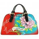 ED HARDY 100% Original Keisha Microfiber Carry-On Handbag - Red