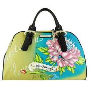 ED HARDY 100% Original Keisha Microfiber Carry-On Handbag - Khaki