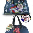ED HARDY 100% Original Jane Weekend Bag - Teal
