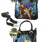 ED HARDY 100% Original Kelly North/South Microfiber Tote - Black