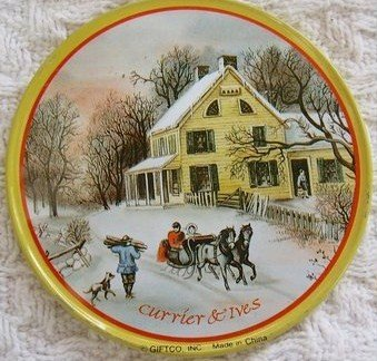 Currier & Ives Homestead in Winter Tin Coasters