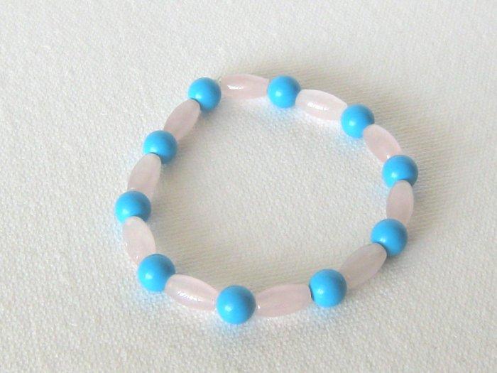 B00008  Handmade strecth beaded bracelet with elastic cord,  turquoise & pink quartz