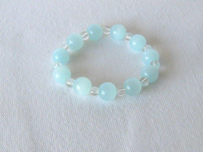 B00024  Handmade strecth beaded bracelet with elastic cord w/ syn. cats eye & crystal beads