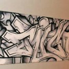 RICO 1 GRAFFITI abstract ART 2x18 b&w  Urban pop street
