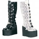 Swing - Women's Knee High Boots with Metal Plates and Mutiple Buckles