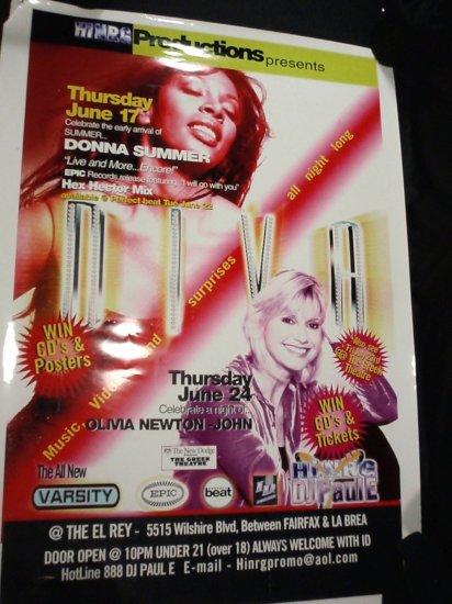 Olivia newton john \ Donna Summer Diva promotional club poster