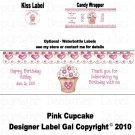 SPECIAL - 60 CANDY WRAPPERS 108 KISS - PINK CUPCAKE