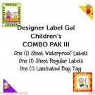 CAMP SCHOOL LABELS and TAGS COMBO PAK III