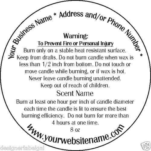 Personalized Candle Warning Labels Three Sizes