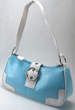 Baby Blue & White Buckle Bag
