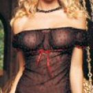 86001 - Peasant (off the shoulder) design, sheer flocked hearts mesh, ribbon trim and bow
