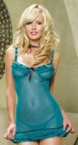 81075 - Semi sheer, ruffle and ribbon trim, includes matching g-string, one size fits most
