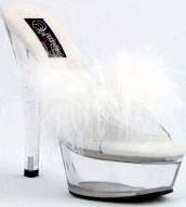 201F White - Open toe, 5 inch spike heel, faux feather toe strap, clear heel & platform.