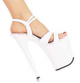 819 White - 8 inch heel, approx. 5 inch platform, double ankle straps.