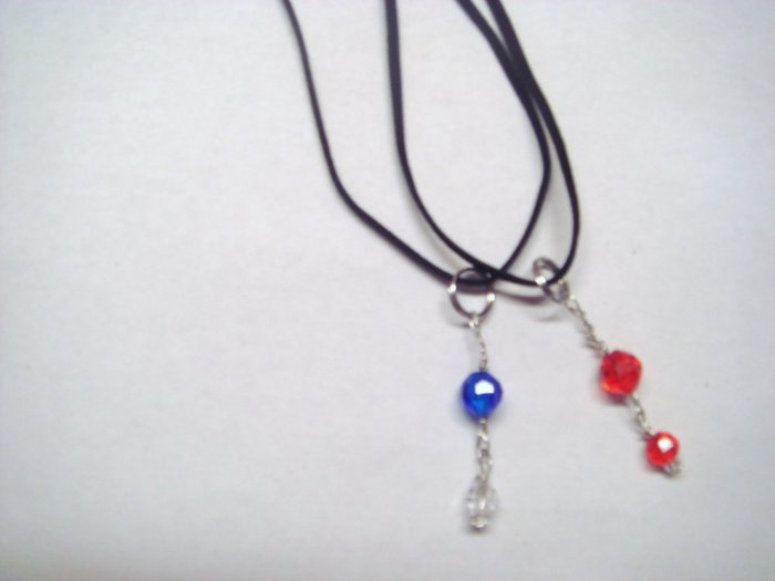 set of red and blue bead necklaces