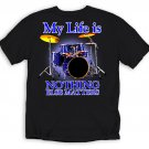 MY LIFE IS DRUMS T-SHIRT NEW BLACK