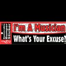 I'M A MUSICIAN WHAT'S YOUR EXCUSE BUMPER STICKER
