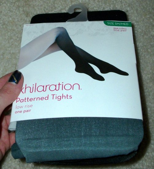 Small/Med Sheer Tights in Black&White, Low Rise, Pattern