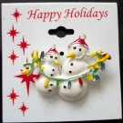 Pin/Brooch Snowmen Hanging Holiday Lights, X-mas, Christmas