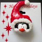 Pin/Brooch Holiday Penguin in a Santa Hat, X-mas, Christmas