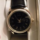 Womens Merona Black & Gold Watch Leather Band