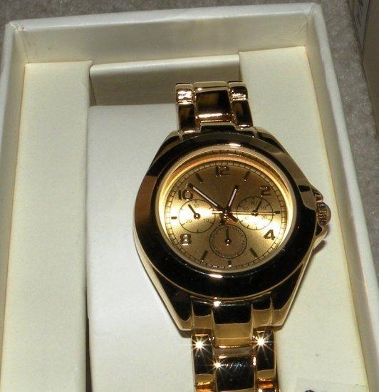 Womens Merona Gold Tone Watch  w/ Chronograph, Link Band