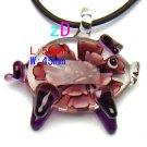 Glass Pink & Purple Pig Pendant, flower design