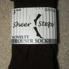 3 Pair Brown Trouser Socks, ribbed