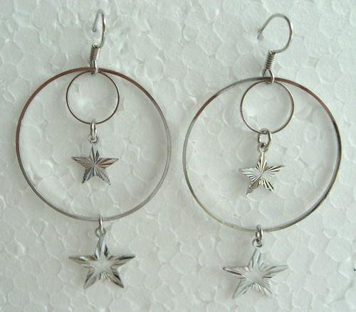 SILVER HOOP STAR DANGLE EARRINGS
